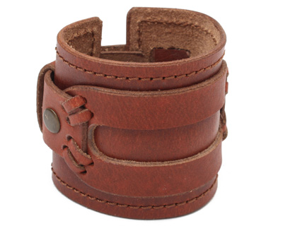 Brown Wide Layered Leather Cuff 2 5/16