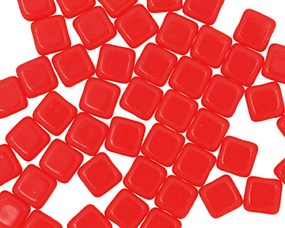 Czech Glass Opaque Red Square 6mm