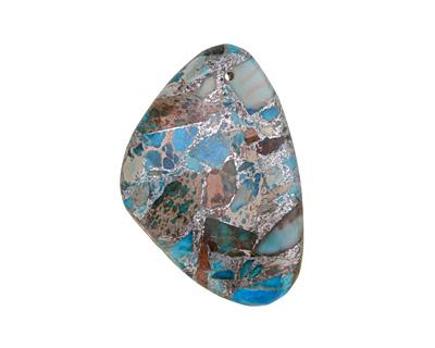 Ocean Blue Impression Jasper & Pyrite Flat Freeform Pendant 31-32x45-46mm