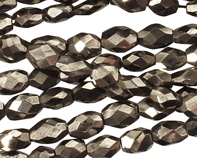 Golden Pyrite (silver tone) Irregular Faceted Flat Oval 8-10x5-6mm