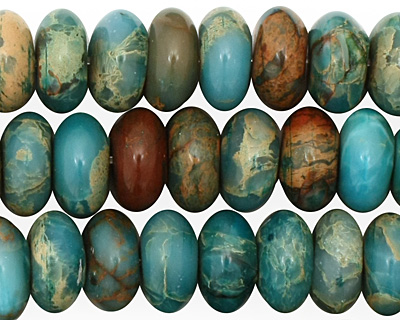 Turquoise Impression Jasper Rondelle 5-6x12mm
