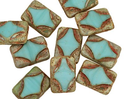Czech Glass Turquoise Picasso Table Cut Rectangle 15x11mm