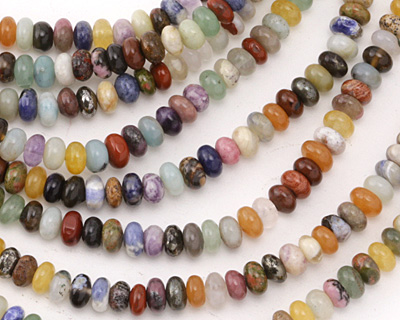 Multi Gemstone (Red Jasper, Sodalite, Pyrite, Amazonite, Aventurine) Rondelle 6-6.5mm