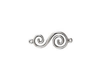Nunn Design Antique Silver (plated) Swirl Connector 32x14mm