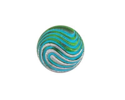 Czech Glass Turquoise & Emerald w/ Silver Swirl Button 18mm