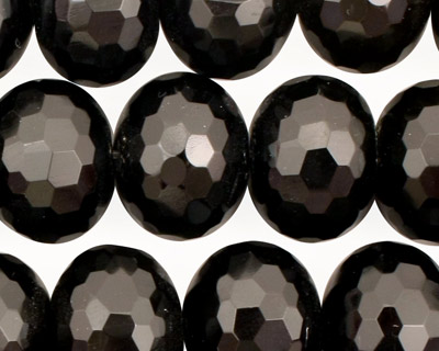 Black Onyx Faceted Rondelle 13x18mm