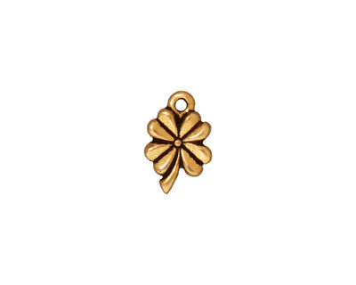 TierraCast Antique Gold (plated) 4-Leaf Clover 9x13mm