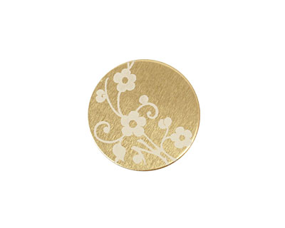 Lillypilly Gold Floral Vine Anodized Aluminum Disc 19mm, 22 gauge