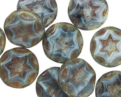 Czech Glass Storm Cloud Starflower Coin w/ Scalloped Edge 15mm