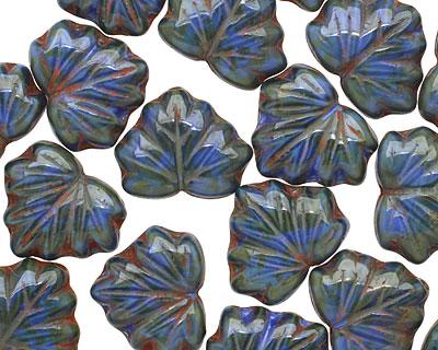 Czech Glass Deep Marina Maple Leaf 10x13mm