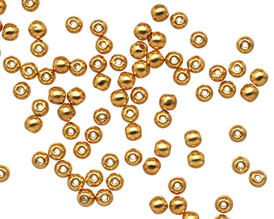 Czech Glass 24K Gold (plated) Round 3mm