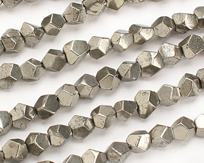 Golden Pyrite (silver tone) Faceted Nugget 6-7mm