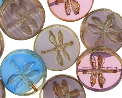 Czech Glass Jumble Berry Pie Dragonfly Coin 17mm