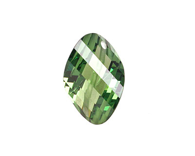 Emerald Faceted Twisted Oval 15x17mm