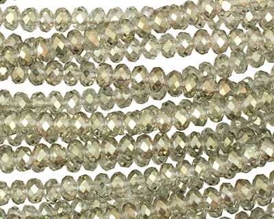 Luster Sage Crystal Faceted Rondelle 4mm