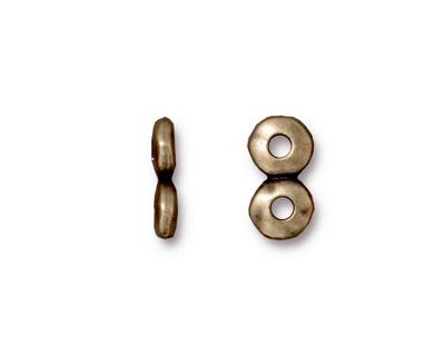 TierraCast Antique Brass (plated) Nugget 2-Hole Bar 7x13mm