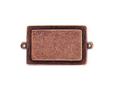 Nunn Design Antique Copper (plated) Raised Tag Rectangle Connector 45x25mm