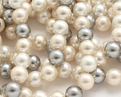 Vintage Lace Shell Pearl Mix Round 8mm