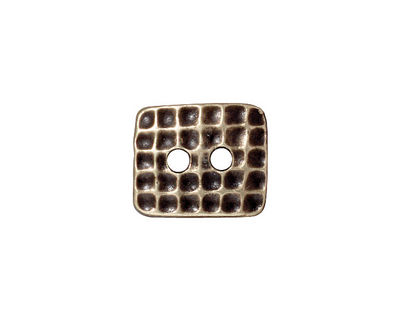 TierraCast Antique Brass (plated) Rectangle Hammertone Button 15x13mm