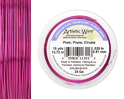 Artistic Wire Silver Plated Plum 24 gauge, 15 yards