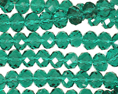 Emerald Crystal Faceted Rondelle 8mm