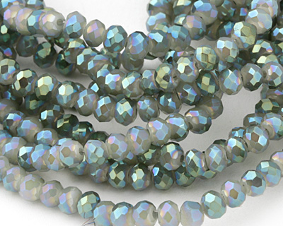 White Opal w/ Blue AB Luster Crystal Faceted Rondelle 4mm