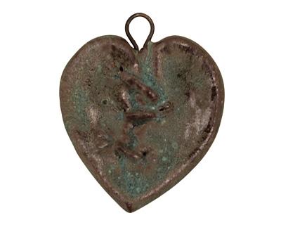 Gaea Ceramic Cerulean Chocolate Fixed Heart Pendant 29x33mm