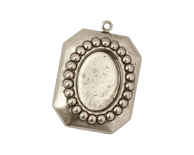 Stampt Antique Pewter (plated) Nouveau Beaded Frame Oval Setting 10x14mm