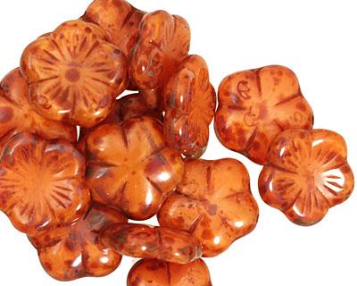Czech Glass Rustic Red 5 Petal Daisy 14mm