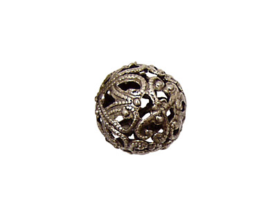 Stampt Antique Pewter (plated) Filigree Ball 14mm