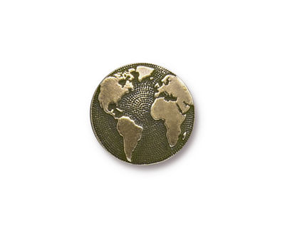 TierraCast Antique Brass (plated) Earth Button 16mm