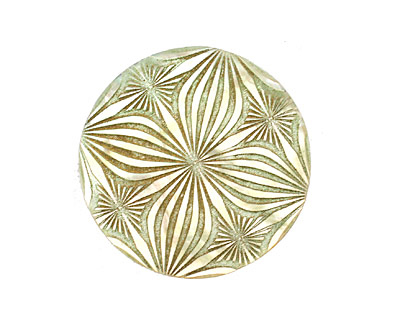 Lillypilly Celadon Floral Kaleidoscope Mother of Pearl Round Cabochon 31mm
