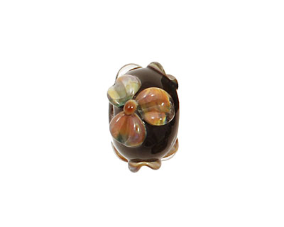 Grace Lampwork Floral Whisper Rondelle 9x14mm