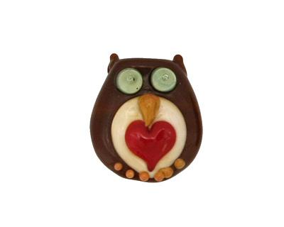 The BeadsNest Lampwork Glass Brown Owl w/ Heart 21-24x19-20mm