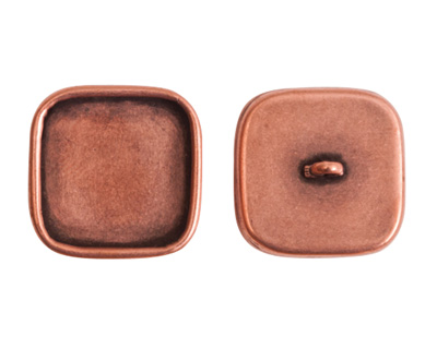 Nunn Design Antique Copper (plated) Large Square Frame Button 18mm