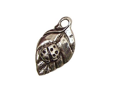 Green Girl Pewter Lady Bug Leaf 15x27mm