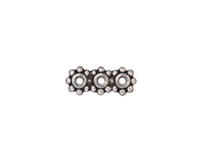 TierraCast Antique Silver (plated) Beaded 3-Hole 6mm Heishi Bar 15x6mm