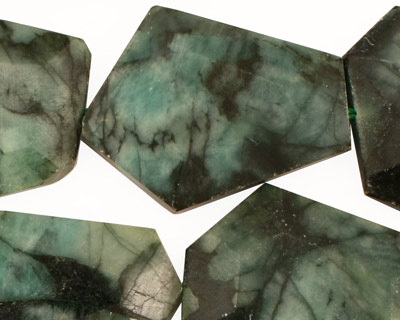 Emerald Faceted Flat Slab 25-30x18-27mm