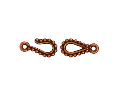 TierraCast Antique Copper (plated) Beaded Hook & Eye Clasp 14x7mm