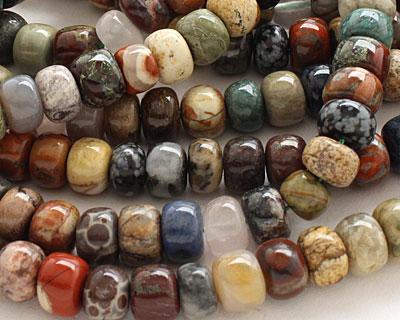 Multi Gemstone (Rose Quartz, Snowflake Obsidian, African Green Jasper) Rondelle 10-11mm