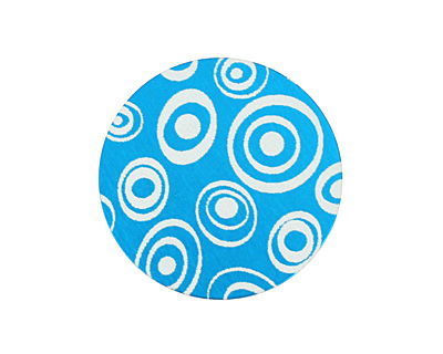 Lillypilly Turquoise Groovy Circles Anodized Aluminum Disc 25mm, 24 gauge