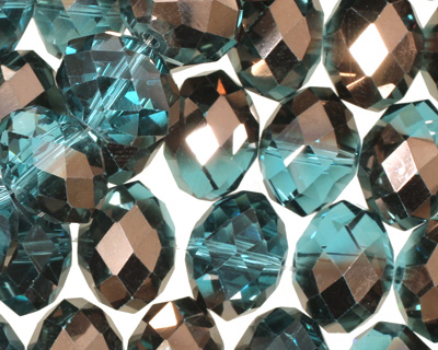 Capri Blue & Oiled Bronze Crystal Faceted Rondelle 14mm