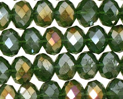 Dark Olivine AB Crystal Faceted Rondelle 8mm