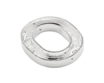 Silver (plated) Smooth Oval (1 channel, 4 hole) Katiedids 29x25mm