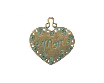 Patina Green Brass Mom Heart Pendant 34mm