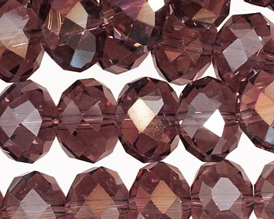 Medium Purple AB Crystal Faceted Rondelle 14mm
