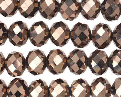 Oiled Bronze Crystal Faceted Rondelle 10mm