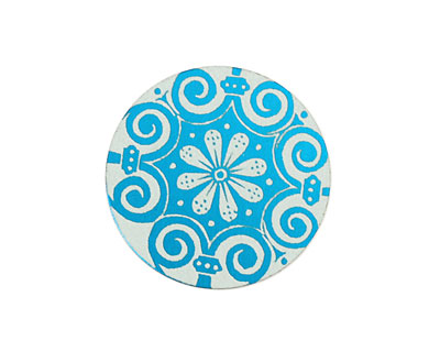 Lillypilly Turquoise Scrolling Daisy Anodized Aluminum Disc 25mm, 24 gauge