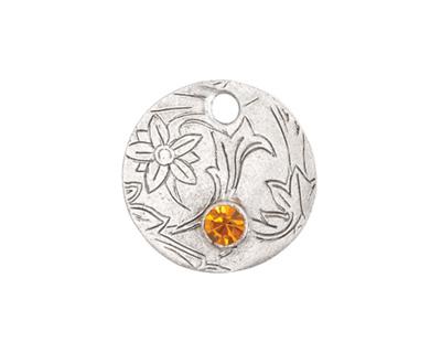 Nunn Design Antique Silver (plated) Decorative Small Circle Tag w/ Topaz Crystal 20mm
