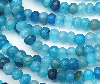 Sky Blue Line Agate Faceted Rondelle 6mm